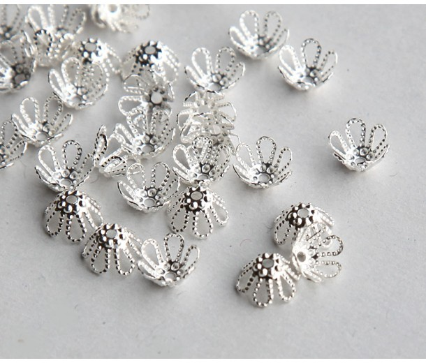 7x4mm Filigree Flower Bead Caps, Silver Plated, Pack of 50