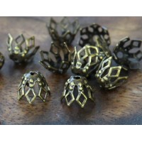 7x5mm Filigree Fancy Basket Bead Caps, Antique Brass