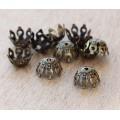 9mm Filigree Gothic Round Bead Caps, Antique Brass