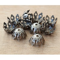 9mm Filigree Gothic Round Bead Caps, Antique Silver, Pack of 20