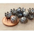 9mm Filigree Gothic Round Bead Caps, Antique Silver