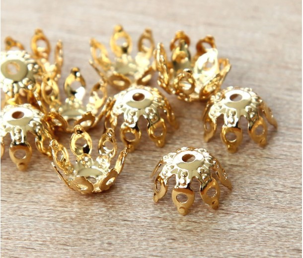 9mm Filigree Gothic Round Bead Caps, Gold Plated, Pack of 20