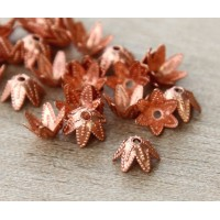 7mm Beaded Flower Bead Caps, Genuine Copper