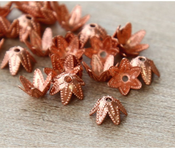 7mm Beaded Flower Bead Caps, Genuine Copper