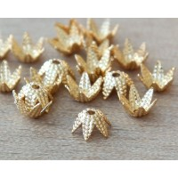 6mm Beaded Flower Bead Caps, Gold Plated, Pack of 50