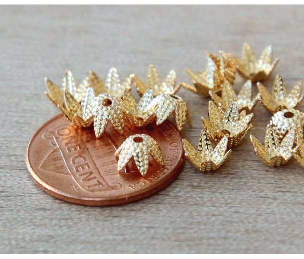 6mm Beaded Flower Bead Caps, Gold Plated