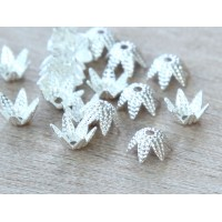 6mm Beaded Flower Bead Caps, Silver Plated, Pack of 50