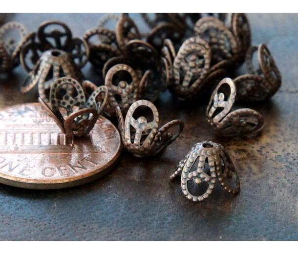 8x6mm Filigree Flower Bead Caps, Antique Copper, Pack of 50