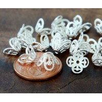 8x6mm Filigree Flower Bead Caps, Silver Tone, Pack of 50