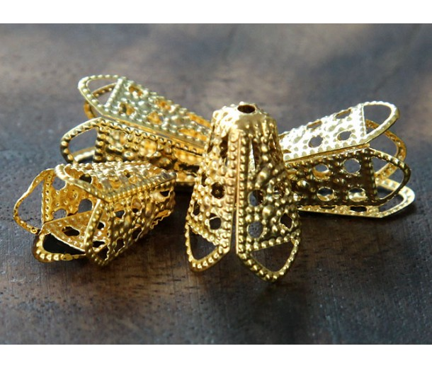 16x10mm Filigree Cone Bead Caps, Gold Tone