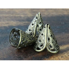 17x10mm Filigree 2-Petal Cone Bead Caps, Antique Brass