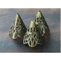 20x17mm Filigree Cone Bead Caps, Antique Brass, Pack of 20