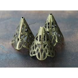 20x17mm Filigree Cone Bead Caps, Antique Brass