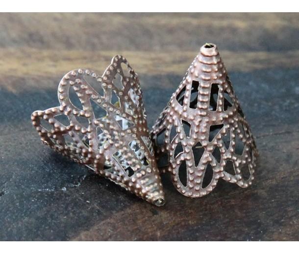 20x17mm Filigree Cone Bead Caps, Antique Copper