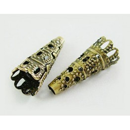 22x9mm Filigree Cone Bead Caps, Antique Brass