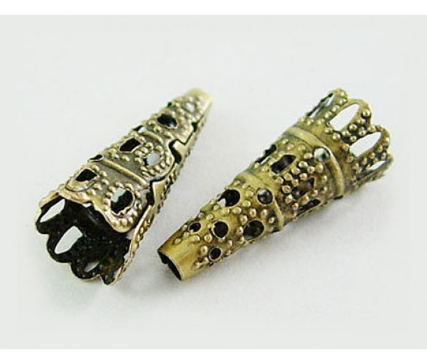 22x9mm Filigree Cone Bead Caps, Antique Brass, Pack of 20