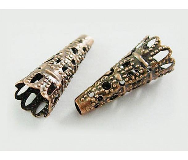 22x9mm Filigree Cone Bead Caps, Antique Copper