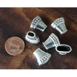 15mm Flattened Cone Bead Caps, Antique Silver
