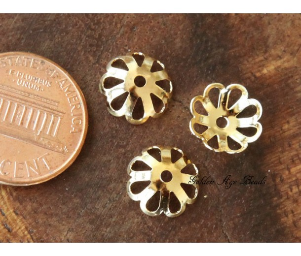10x3mm Flower Bead Caps, Gold Plated, Pack of 50