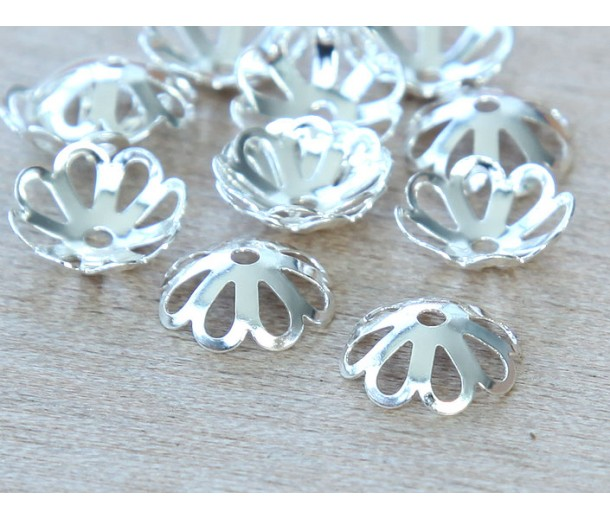 10x3mm Flower Bead Caps, Silver Plated