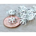 10x3mm Flower Bead Caps, Silver Plated, Pack of 50