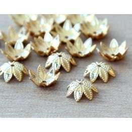 9mm Beaded Flower Bead Caps, Gold Plated