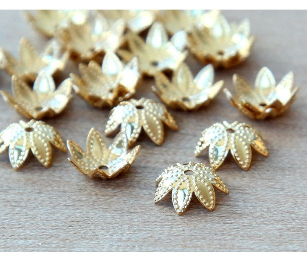 9mm Beaded Flower Bead Caps, Gold Plated, Pack of 20