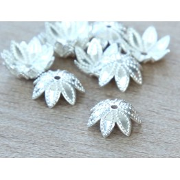 9mm Beaded Flower Bead Caps, Silver Plated