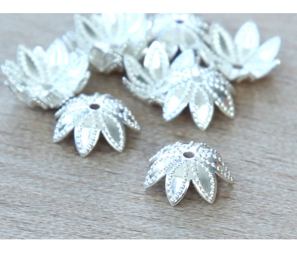 9mm Beaded Flower Bead Caps, Silver Plated, Pack of 20