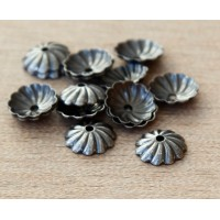 7mm Flat Swirl Bead Caps, Antique Silver