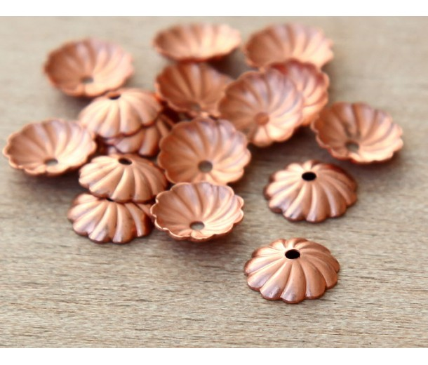 7mm Flat Swirl Bead Caps, Shiny Copper, Pack of 40