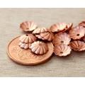 7mm Flat Swirl Bead Caps, Shiny Copper, Pack of 40