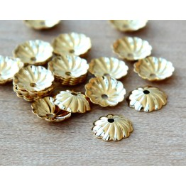7mm Flat Swirl Bead Caps, Gold Plated