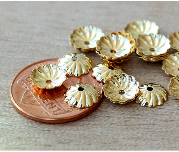 7mm Flat Swirl Bead Caps, Gold Plated, Pack of 40