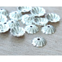 7mm Flat Swirl Bead Caps, Silver Plated