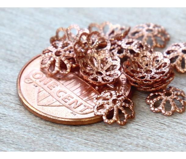 7mm Filigree Round Bead Caps, Genuine Copper