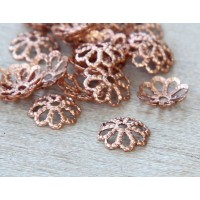 7mm Filigree Round Bead Caps, Genuine Copper