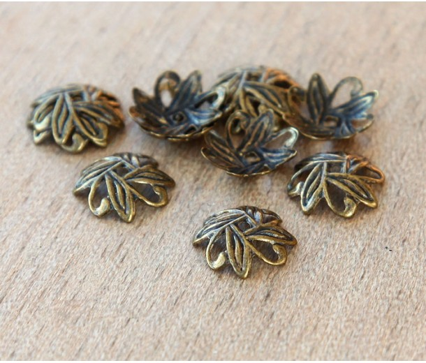 10mm Crossed Leaves Bead Caps, Antique Brass