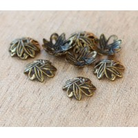 10mm Crossed Leaves Bead Caps, Antique Brass, Pack of 50