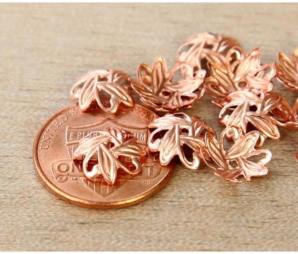 10mm Crossed Leaves Bead Caps, Genuine Copper