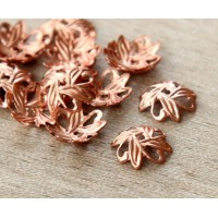 10mm Crossed Leaves Bead Caps, Genuine Copper