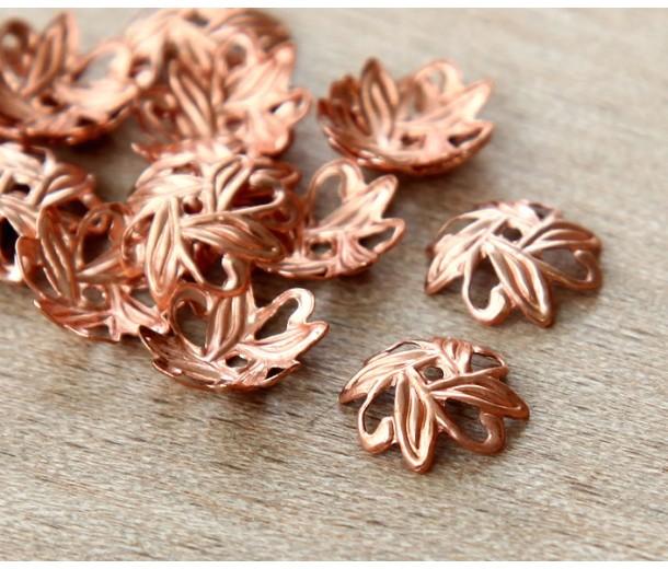 10mm Crossed Leaves Bead Caps, Genuine Copper, Pack of 36