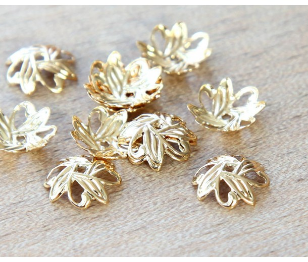 10mm Crossed Leaves Bead Caps, Gold Plated