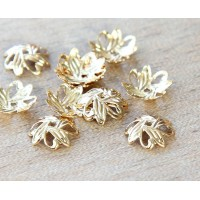 10mm Crossed Leaves Bead Caps, Gold Plated, Pack of 50
