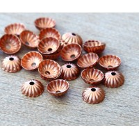 5mm Corrugated Bead Caps, Genuine Copper