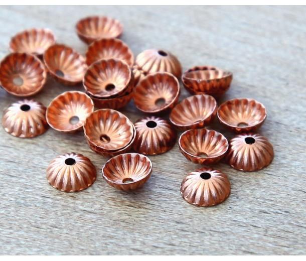 5mm Corrugated Bead Caps, Genuine Copper