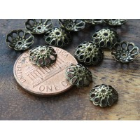 8mm Fancy Round Bead Caps, Antique Brass, Pack of 50