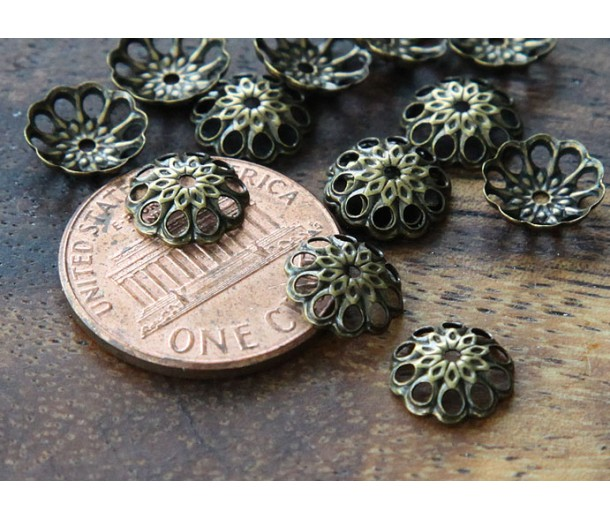 8mm Fancy Round Bead Caps, Antique Brass