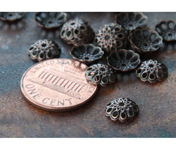 8mm Fancy Round Bead Caps, Antique Copper