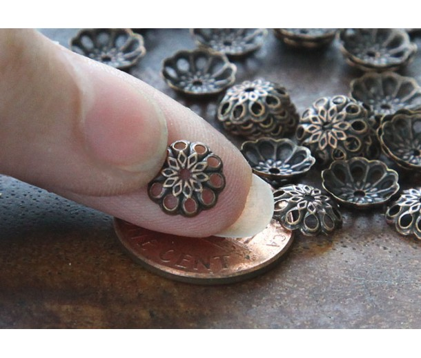 8mm Fancy Round Bead Caps, Antique Copper, Pack of 100
